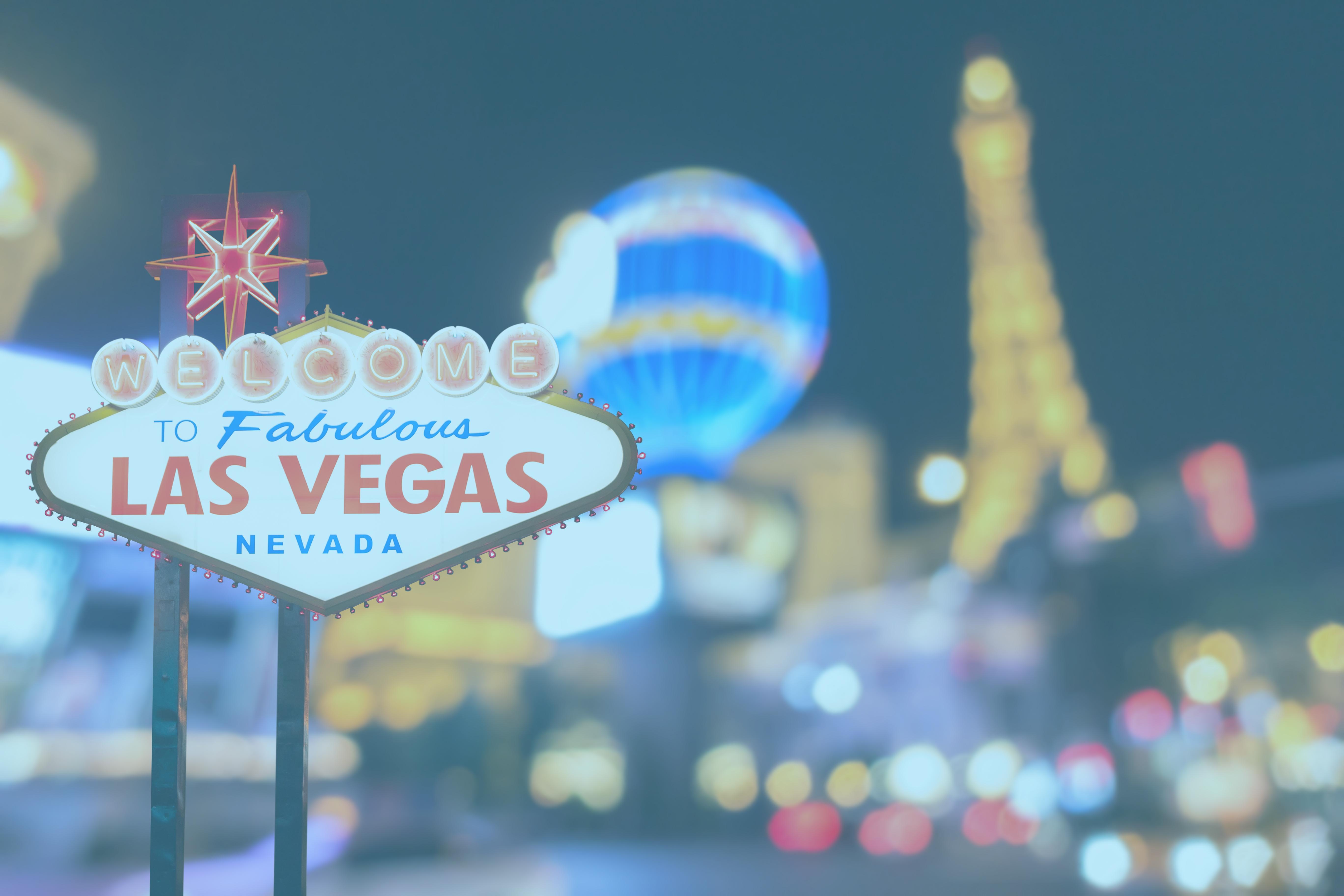Vegas Skyline. Blue Overlay